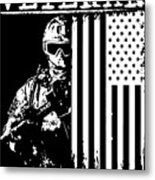 United States Veteran Flag And Soldier Metal Print