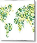 University Of Alberta Colors Swirl Map Of The World Atlas Metal Print