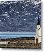 Unjarga-nesseby Church In Arctic Norway Metal Print