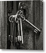 Unlocked - Keys And Opened Door Metal Print