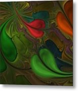 Untitled 1-26-10 Orang And Green Metal Print