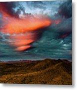 Unusual Clouds Catch Sunset Metal Print