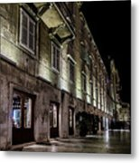 Up Lighting On A European Building At Night  Metal Print