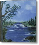 Landscape With Waterfall Metal Print