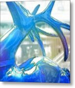 Up On The Rooftop Blue Metal Print