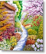 Up The Garden Path Metal Print by Debbie  Diamond