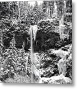Upper Falls In Snow's Cover Metal Print