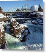 Upper Falls Winter - Spokane Metal Print