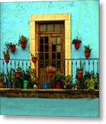 Upper Window In Turqoise Metal Print