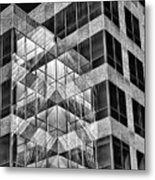 Urban Abstract - Mirrored High-rise Building In Black And White Metal Print
