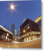 Urban Curves Of Light Metal Print