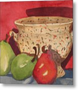 Urn With Pears Metal Print