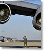 U.s. Air Force Crew Chief Performs Metal Print
