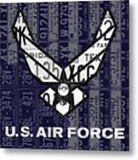 Us Air Force Logo Recycled Vintage License Plate Art Metal Print