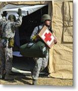 U.s. Air Force Soldier Exits A Medical Metal Print