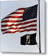 Us And Pow-mia Flags Metal Print