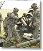 U.s. Army Soldier Throws A Spent 105mm Metal Print
