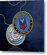 U.s. Coast Guard Petty Officer Second Class - Uscg Po2 Rank Insignia Over Blue Velvet Metal Print