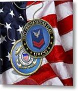 U. S. Coast Guard Petty Officer Second Class - Uscg Po2 Rank Insignia Over Us Flag Metal Print