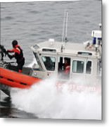 U.s. Coast Guardsmen Aboard A Security Metal Print by Stocktrek Images