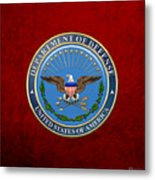 U. S. Department Of Defense - D O D Emblem Over Red Velvet Metal Print