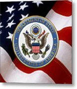 U. S. Department Of State - Dos Emblem Over U.s. Flag Metal Print