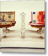 U.s. Dollar And Euro Banknotes On A Pair Of Scales In Vienna Metal Print