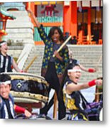 U.s. First Lady Michelle Obama  Plays The Taiko Drum  Metal Print
