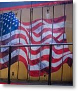 Us Flag On Side Of Freight Engine Metal Print