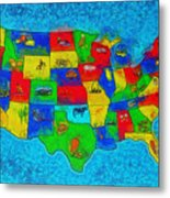Us Map With Theme  - Special Finishing -  - Pa Metal Print