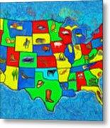 Us Map With Theme  - Van Gogh Style -  - Da Metal Print