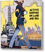 U.s. Marines Active Service On Land And Sea Metal Print