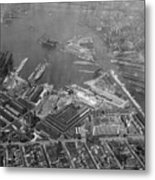 U.s. Naval Yard In Brooklyn Ny Photograph - 1932 Metal Print