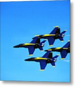 Us Navy Blue Angels Flight Demonstration Team In Fa 18 Hornets Metal Print