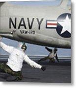 U.s. Navy Sailors Give The Thumbs Metal Print by Stocktrek Images