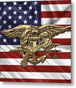 U.s. Navy Seals Trident Over U.s. Flag Metal Print