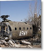 U.s. Soldier Inspects The Wreckage Metal Print