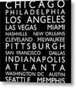 Usa Cities Bus Roll Metal Print