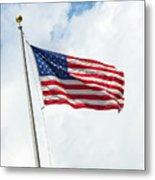 Usa Flag On Blue Sky With Clouds Metal Print