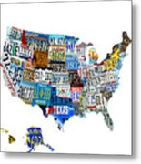Usa License Plates Map 4p Metal Print