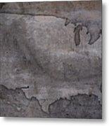 Usa Map Outline On Concrete Wall Slab Metal Print