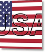 Usa On The American Flag Metal Print