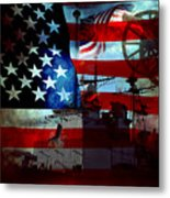 Usa Patriot Flag And War Metal Print