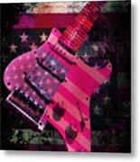 Usa Pink Strat Guitar Music Metal Print
