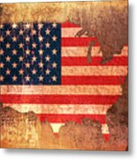 Usa Star And Stripes Map Metal Print by Michael Tompsett