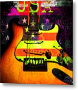 Usa Strat Guitar Music Metal Print