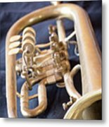 Used Old Trumpet. Vertically. Metal Print