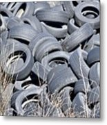 Used Tires At Junk Yard Metal Print