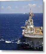 Uss Boxer Leads A Convoy Of Ships Metal Print
