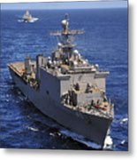 Uss Comstock Leads A Convoy Of Ships Metal Print